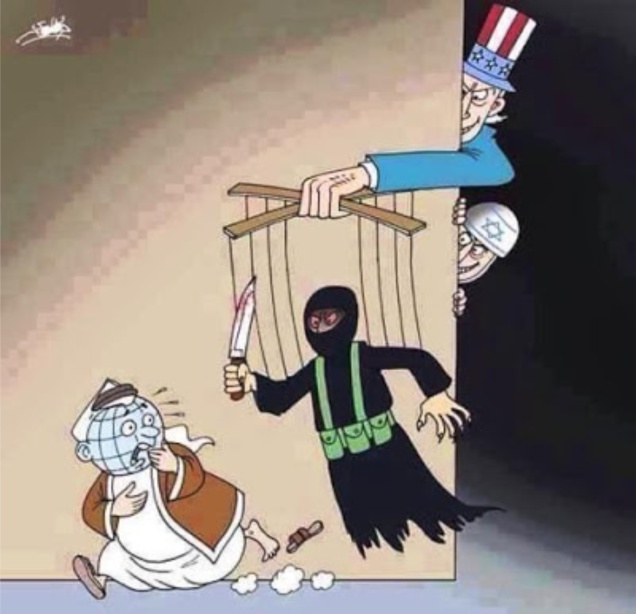 Cartoon. Terrifying terror. US. Israel. Daesh ISIS. UN. Syria. #1ab